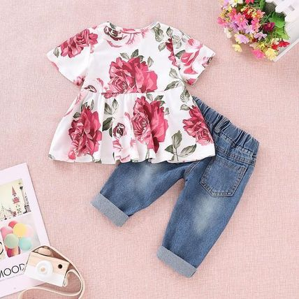 Street Style Fringes Co-ord Front Button Baby Girl Tops