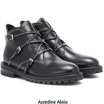 Azzedine Alaia Round Toe Rubber Sole Casual Style Studded Plain Leather