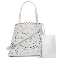 Azzedine Alaia Flower Patterns Bag in Bag 2WAY Leather Elegant Style