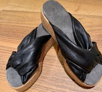 BRUNELLO CUCINELLI Open Toe Platform Casual Style Plain Leather Slippers