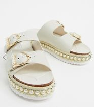 River Island Open Toe Casual Style Faux Fur Party Style Slippers Sandals