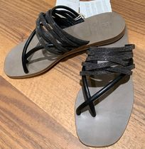 BRUNELLO CUCINELLI Open Toe Casual Style Blended Fabrics Plain Leather