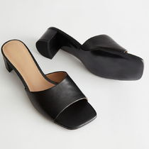 & Other Stories Square Toe Casual Style Leather Block Heels Party Style