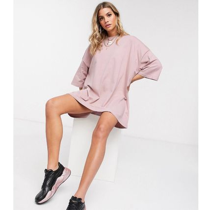 Crew Neck Short Casual Style Flared Street Style Plain