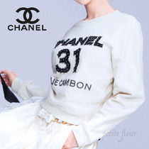 CHANEL Crew Neck Short Long Sleeves Cotton Logo Cropped