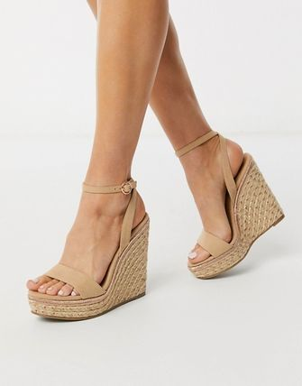 Open Toe Casual Style Suede Plain Elegant Style