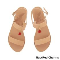 ANCIENT GREEK SANDALS Open Toe Casual Style Plain Leather Fringes Elegant Style