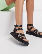 Missguided Open Toe Casual Style Faux Fur Sport Sandals Flat Sandals