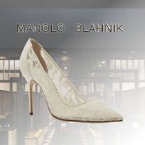 Manolo Blahnik Casual Style Leather Party Style Elegant Style Bridal Sheer