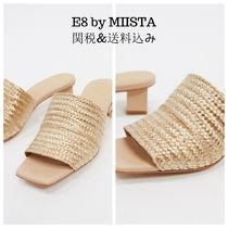 miista Open Toe Square Toe Casual Style Plain Leather Block Heels
