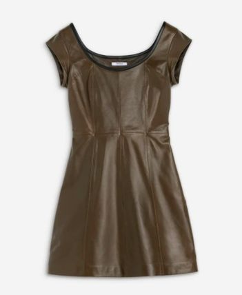 Casual Style Leather Elegant Style Dresses