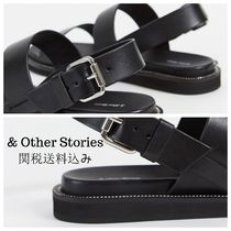 & Other Stories Open Toe Casual Style Studded Plain Leather Elegant Style