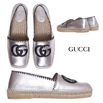 GUCCI Rubber Sole Plain Leather Logo Slip-On Shoes