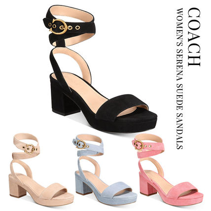 Coach Open Toe Casual Style Suede Plain Block Heels Party Style