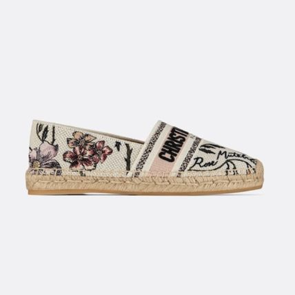 Christian Dior DIOR GRANVILLE Flower Patterns Star Round Toe Rubber Sole Casual Style