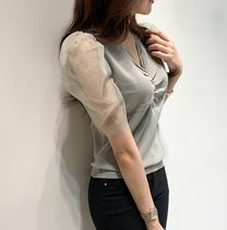 Puff Sleeves Icy Color Sheer Shirts & Blouses