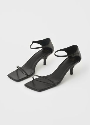 Open Toe Square Toe Casual Style Plain Leather Pin Heels
