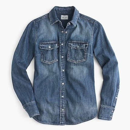 Casual Style Denim Long Sleeves Plain Cotton Medium