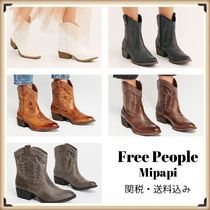 Free People Cowboy Boots Casual Style Faux Fur Block Heels