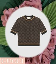 GUCCI GG Supreme Short Casual Style Unisex Wool U-Neck Short Sleeves