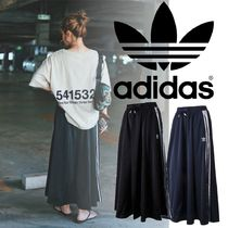 adidas Stripes Casual Style Street Style Long Logo Maxi Skirts