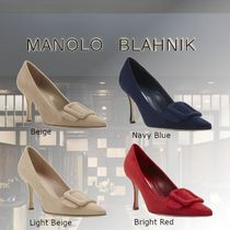 Manolo Blahnik Casual Style Suede Fur Leather Party Style Office Style