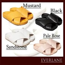 Everlane Casual Style Plain Leather Shower Shoes Flat Sandals