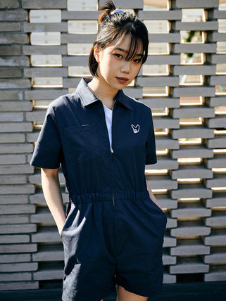 Short Dungarees Casual Style Plain Cotton Short Sleeves