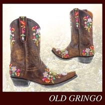 OLD GRINGO Flower Patterns Cowboy Boots Round Toe Casual Style Leather