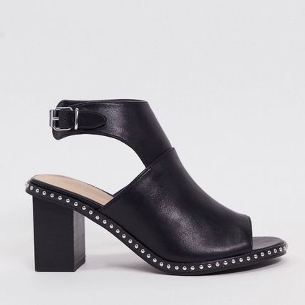 Open Toe Casual Style Faux Fur Studded Plain Leather