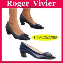 Roger Vivier Square Toe Casual Style Bi-color Plain Leather Elegant Style
