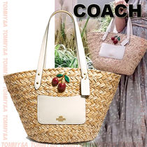 Coach Blended Fabrics A4 Straw Bags