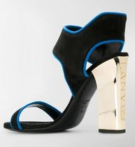 LANVIN Open Toe Plain Leather Block Heels Elegant Style