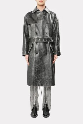 Street Style Plain Leather Long Oversized Trench Coats