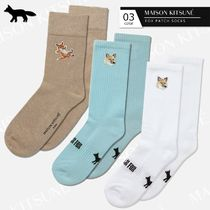 MAISON KITSUNE Unisex Plain Cotton Logo Socks & Tights