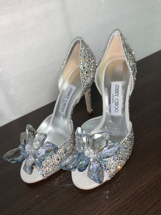 Jimmy Choo Open Toe Leather Pin Heels Party Style With Jewels