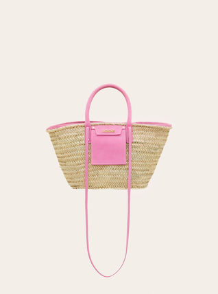 2WAY Plain Logo Straw Bags