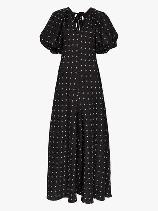 Flower Patterns Casual Style Maxi A-line Silk Flared