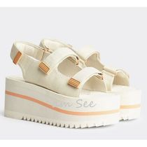 Tommy Hilfiger Open Toe Platform Rubber Sole Casual Style Street Style