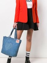 Love Moschino Casual Style Denim Logo Totes