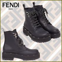 FENDI Casual Style Plain Leather Logo Wedge Boots