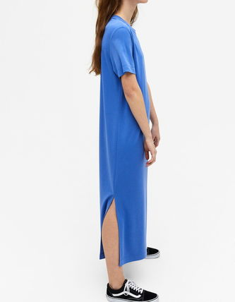 Crew Neck Casual Style Maxi Cropped Long Short Sleeves