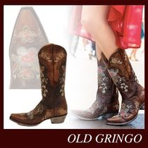 OLD GRINGO Cowboy Boots Casual Style Studded Leather Block Heels