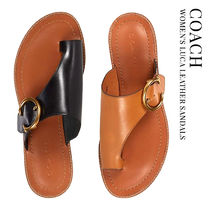 Coach Open Toe Round Toe Casual Style Studded Plain Leather