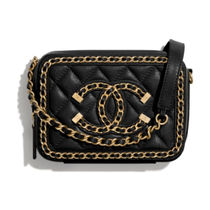 CHANEL Blended Fabrics Chain Party Style Elegant Style Crossbody