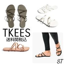 TKEES Rubber Sole Casual Style Street Style Leather Flip Flops