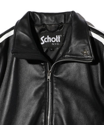 Street Style Plain Leather Logo Biker Jackets