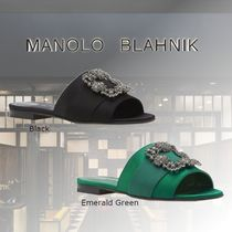 Manolo Blahnik Open Toe Casual Style Fur Leather With Jewels Elegant Style