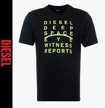 DIESEL Logo Crew Neck Short Sleeves Street Style Crew Neck T-Shirts