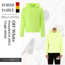 Off-White Pullovers Unisex Street Style Long Sleeves Plain Cotton Logo